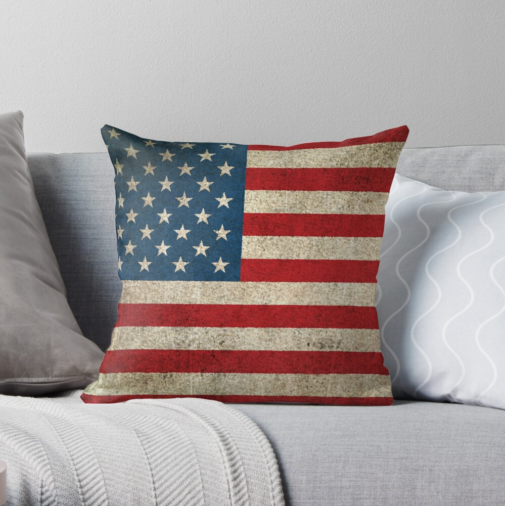 Old and Worn Distressed Vintage Flag of The United States Throw Pillow