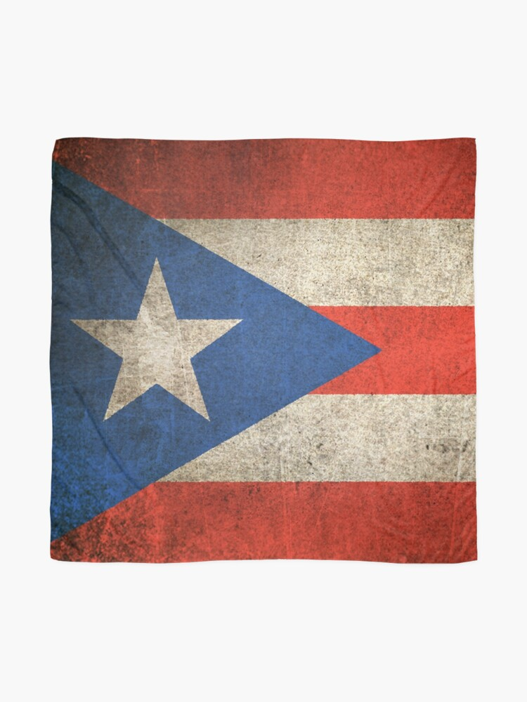 Alternate view of Old and Worn Distressed Vintage Flag of Puerto Rico Scarf