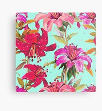 Red, Pink and Purple Floral Print Metal Print