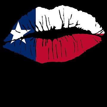 Texas Lone Star Flag Lipstick Kiss Lip Art by cnkna