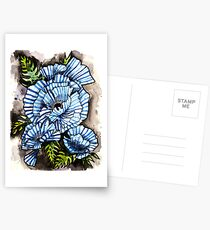 Blue Striped Flower Postcards