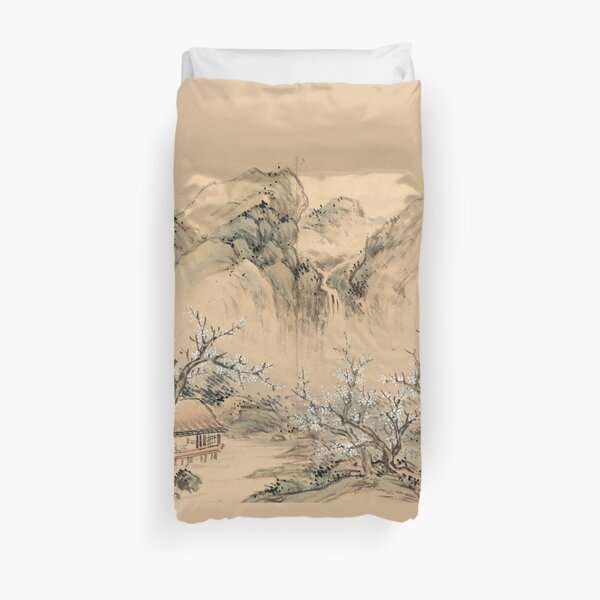 Landscapes of the Four Seasons-Spring (Restored Japanese Painting) Duvet Cover