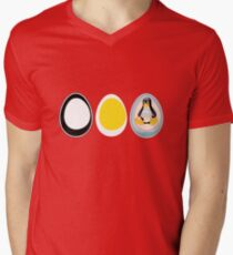 LINUX TUX  PENGUIN  3 EGGS Mens V-Neck T-Shirt