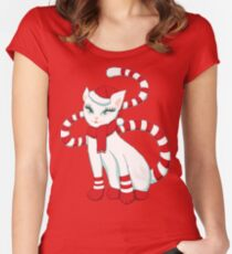 White cat in Christmas mood Women's Fitted Scoop T-Shirt