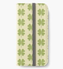 Seamless pattern with a leaf of clover. iPhone Wallet/Case/Skin