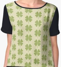 Seamless pattern with a leaf of clover. Chiffon Top