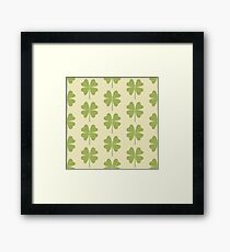 Seamless pattern with a leaf of clover. Framed Print