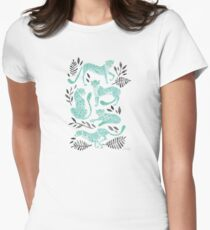 Cheetah Collection – Mint & Black Palette Women's Fitted T-Shirt