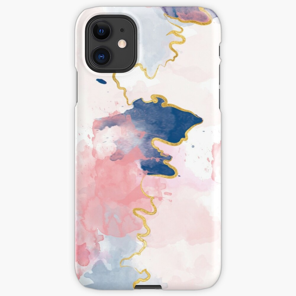 Kintsugi Pastel Marble Abstract #kintsugi #gold #japan #marble #pink #blue #home #decor #kirovair #watercolor #pastel iPhone-Hülle & Cover