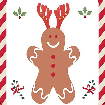 Cute Santa Gingerbread Man Holly Candy Cane by Discofunkster