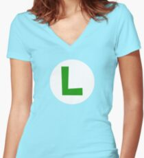 Super Mario Luigi Icon Women's Fitted V-Neck T-Shirt