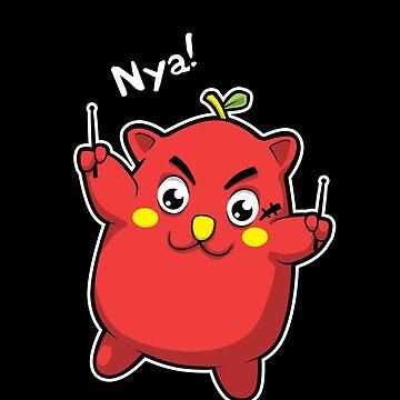 Nyango Star - Cute Japanese Apple Cat Drummer Mascot by AlexanderGorham