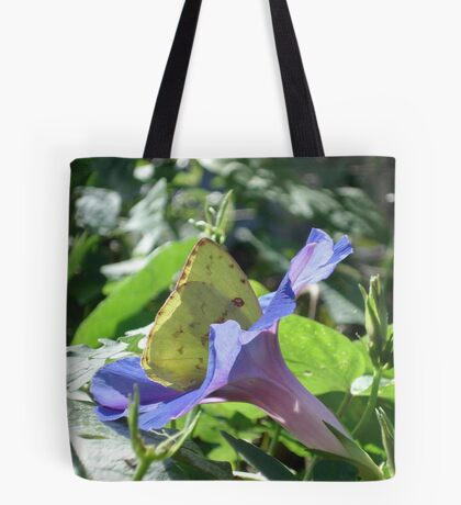 Sulphur Butterfly  in Morning Glory 2 Tote Bag