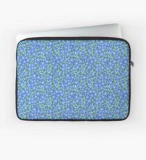 Pretty Ditsy Blue Green Periwinkle Flowers Laptop Sleeve
