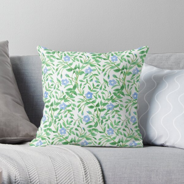 Country-style Blue Green Floral Periwinkle Pattern Throw Pillow