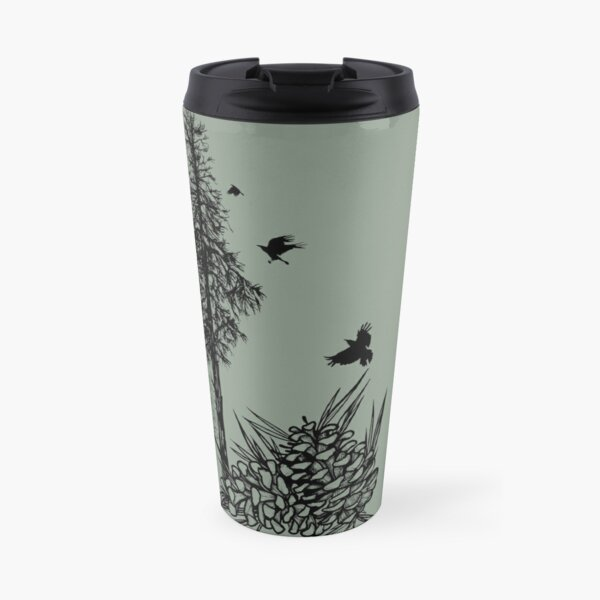 Pacific Northwest tree with crows and pinecones Travel Mug