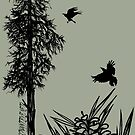 Pacific Northwest tree with crows and pinecones by resonanteye