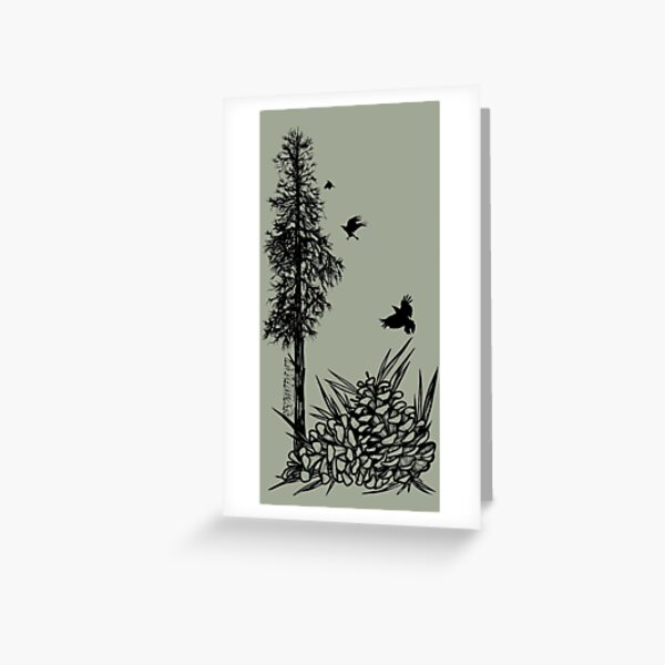 Pacific Northwest tree with crows and pinecones Greeting Card
