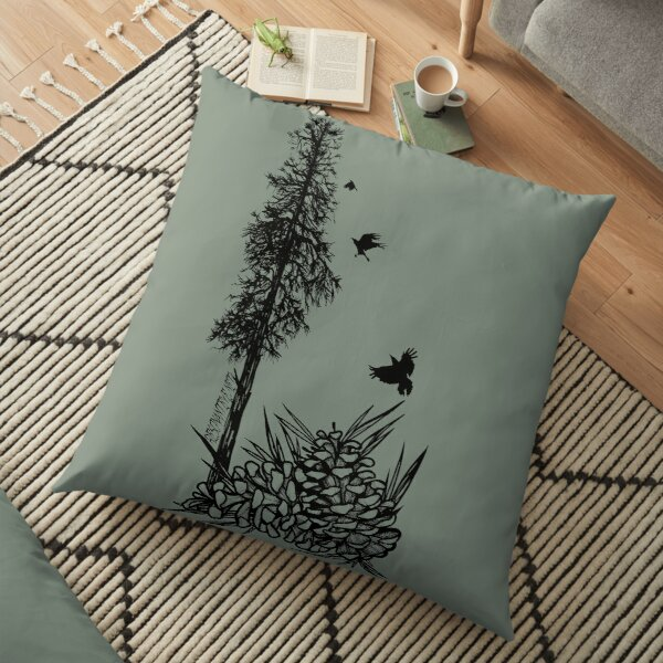 Pacific Northwest tree with crows and pinecones Floor Pillow