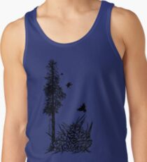 Pacific Northwest tree with crows and pinecones Men's Tank Top