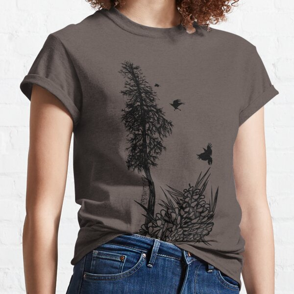 Pacific Northwest tree with crows and pinecones Classic T-Shirt