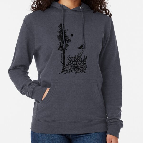 Pacific Northwest tree with crows and pinecones Lightweight Hoodie