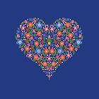 Pretty Folk Art Style Floral Heart by Judy Adamson
