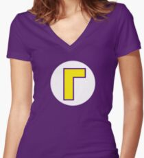 Super Mario Waluigi Icon Fitted V-Neck T-Shirt