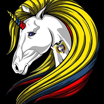 Colombia Flag Unicorn Colombian Flag DNA Heritage Roots Gift  by nikolayjs