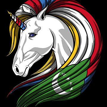 Comoros Flag Unicorn Comorian Flag DNA Heritage Roots Gift  by nikolayjs