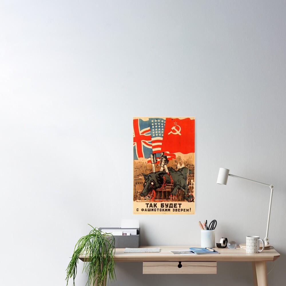 This Will Happen To The Fascist Beast, USSR, Aleksei Kokorekin, 1944, Soviet Anti-Nazi Propaganda Poster Poster