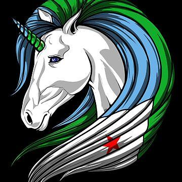 Djibouti Flag Unicorn Djiboutian Flag DNA Heritage Roots Gift  by nikolayjs