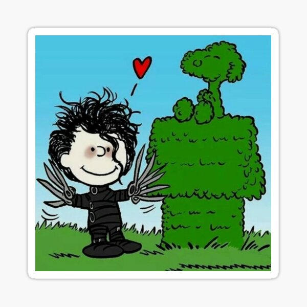 Edward Scissorhand and Bonsai Snoopy   Sticker