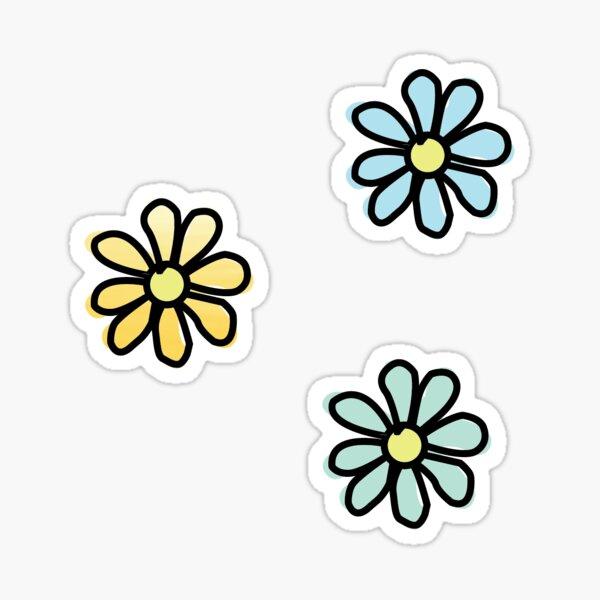 Flower 3-Pack Blue/Green/Yellow Ombré Sticker
