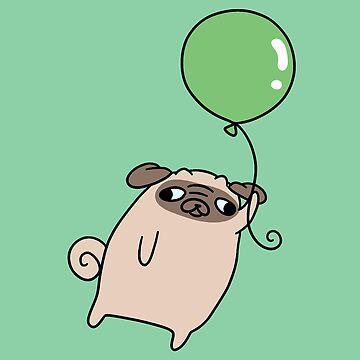 Green Balloon Pug by SaradaBoru