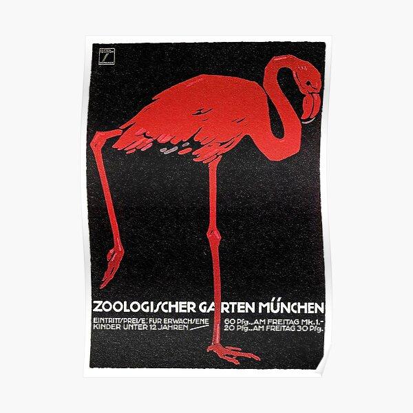 Flamingo in Munich 1912 Zoo Advertisement Poster