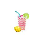 Cute Pink Chevron Lemonade with Lime Slice by Blkstrawberry