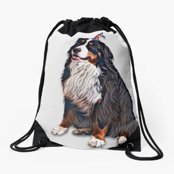 Happy Birthday Berner Dog Drawstring Bag