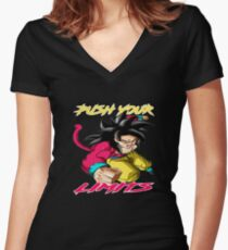 "Goku SSJ4 ""Push Your Limits"" Yellow/ Red Letter Women's Fitted V-Neck T-Shirt"