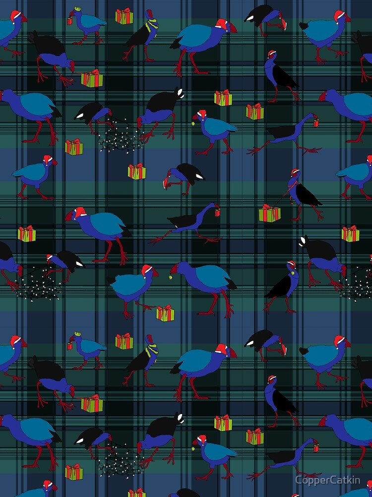 Pukeko and Takahe Party - Forest Plaid by CopperCatkin