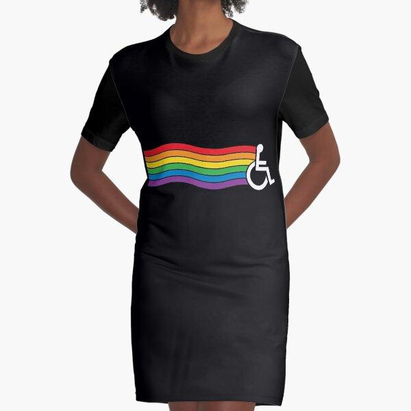 Wheelchair Pride (dark background) Graphic T-Shirt Dress