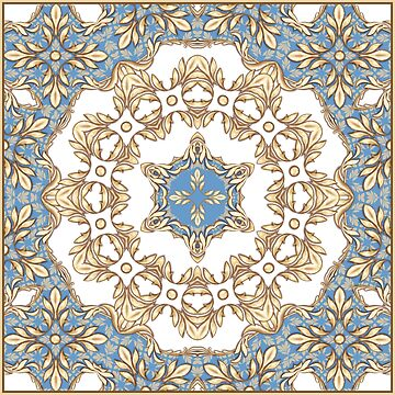 Square composition with goldeen scrolls and leaves by Gribanessa
