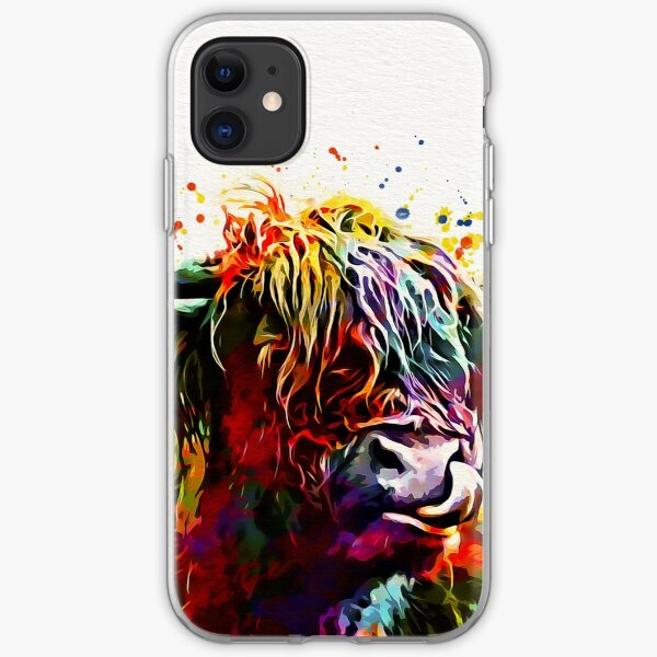 Highland Cow Watercolor Art Work  iPhone Soft Case