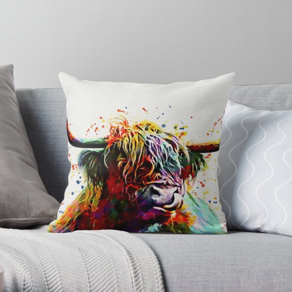 Highland Cow Watercolor Art Work  Throw Pillow