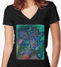 Hojas de noche ultravioleta Camiseta entallada de cuello en V