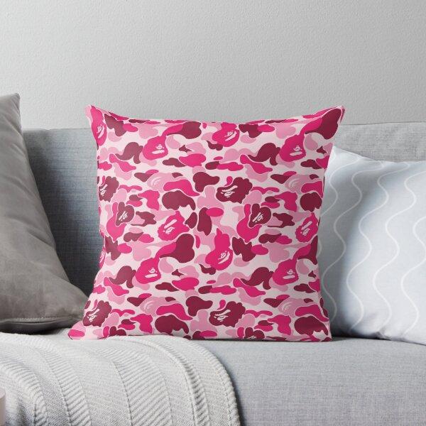Pink Bape Camo Throw Pillow