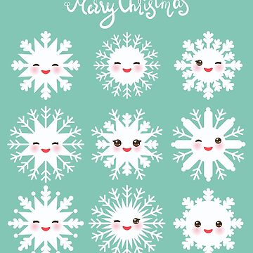 Merry Christmas card Kawaii snowflake on mint blue background by EkaterinaP