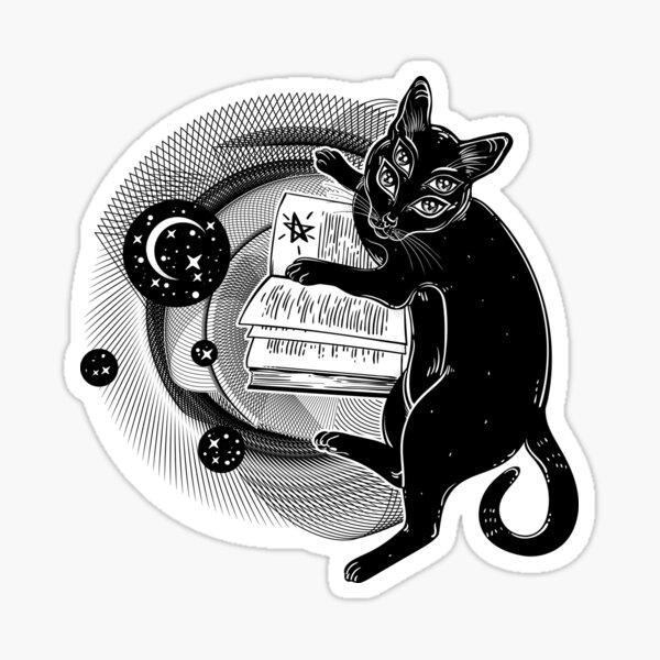Smart black boho four eyed demon magic cat reading the Necronomicon book. Sticker