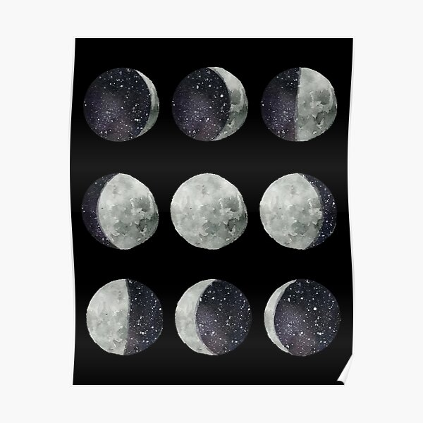 Moon Phases - Moon shirt - Moon dress - Moon sticker- Watercolor & Ink  Poster