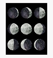 Moon Phases - Moon shirt - Moon dress - Moon sticker- Watercolor & Ink  Photographic Print